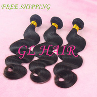 3pcs/lot Grade 5A ,queen hair product natural color virgin brazilian hair body wave with shipping free