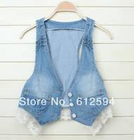 New women lace bow denim vest waistcoat sleeveless short jacket cardigan gilet cotton single breaseted office club college hot
