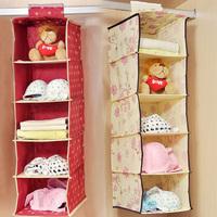 2014 New Cute Bear Floral Women Ladies 5 Layer Hanging Storage Bag Box Home Underwear Bra Toy Orgnizer 5 Pockets #AF0068