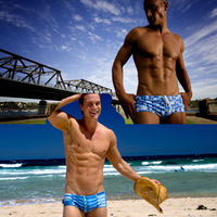 wholesale abstract blue spot sexy swimwear/fresh small trunks  wear for men 2pcs in one package