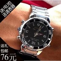 Weide electronic watch quartz watch steel belt sports mens watch led luminous waterproof multifunctional male watch