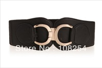 B4  Black Fashion Faux leather Women Buckle Waistband Belt