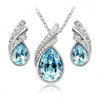 Accessories popular accessories crystal necklace stud earring set 1107 crystal accessories set
