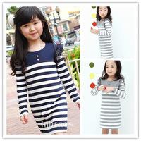 2014 spring new Girls Dresses child female child stripe long-sleeve gauze princess cotton one-piece retail