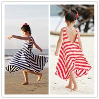 2014 summer full dress spaghetti strap one-piece dress stripe child bohemia beach dress female child beach dress
