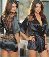 Fashion Black Satin Black Sexy Lingerie Costume Pajamas Underwear Sleepwear Robe and G-String Free Shopping Free Size F1221