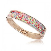 Fashion accessories crystal full rhinestone wide bracelet girlfriend gifts flowerier multi-colored e38 accessories