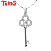 925 sterling silver necklace Women  key necklace female short design pure silver pendant brief chain Free shipping G&S193
