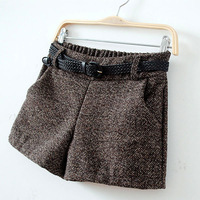 Factory direct new winter thick Miss Mao Ne hundred towers leisure shorts grid boots pants children trousers wholesale