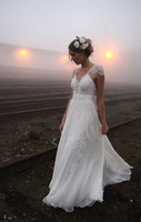 New White Chiffon Lace V-Neck Bridal Wedding Dress Custom Size 4.6.8.10.12.14.16