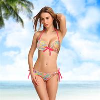 2014 New Luxury  Push Up Padded Swimsuit Bikini Swimwear Bathing Suits Set With Bow Bazilian Promotion XS,S,M Drop Shipping