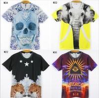 (Alice)free shipping 2014 fashion cotton tshirt men high quality 3D t shirt new double printed tees 21models size M L XL XXL