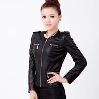2014 spring gentlewomen o-neck genuine leather clothing female slim design elegant short coat female