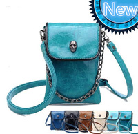 2014 free shipping new fashion spring shoulder cross-body small bags skull chain coin mobile cell phone bag women party  PU b4