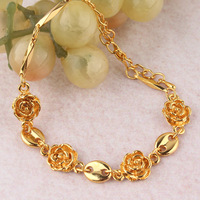 Free shipping New Fashion Hot sale Women/Girls 18k Yellow Gold Filled  Flower Bracelet Bangle Gift Jewelry