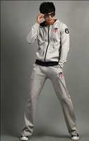 2013 new spring clothing affixed cloth embroidered the sport suit men's fleece set free shipping!
