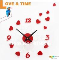 Princess Korean romantic heart-shaped wall clock DIY clock DIY clock fashion creative combination of fun wall clock silent