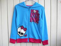 2014 New Monster High 100% Cotton Fashion Blue Children Hoodies Children Outerwear Girls Clothing Free Shipping(DA-064)