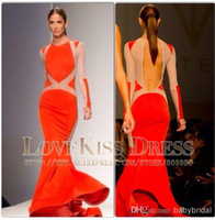 Sexy Vestidos Scoop Neck Long Sleeve Out Cut Dress Long Chiffon Mermaid Prom Evening Dress 2014 New Arrival DYQ1030