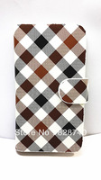 Free shipping New wallet plaid flip Phone holster PU Leather Plaid Design Luxury Wallet Case For ZTE GRAND N909