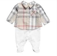 Retail, 100% cotton new 2014 Fashion Baby bodysuits baby boy long sleeve plaid summer newborn baby clothing set free shipping