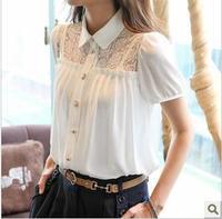 2014 Korean Style Brand white Lace Women Blouses Flowers Chiffon Tops elegant Shirt Spring Summer Ladies OL Wear Free Shipping