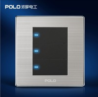 smart home 3 Gang 1 Way  POLO luxury wall switch panel, LED panel, Light switch,Tap switch,110~250V