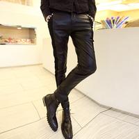 Jncq 2013 autumn and winter slim men's clothing patchwork trend rivet PU skinny pants trousers