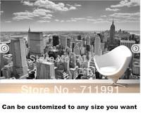 Free shipping Black and White New York Panorama Mural wallpaper