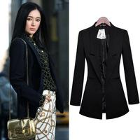 2014 New arrival Tops Fashion Women balzer Midum long slim  black plus size XXXL OL Blazer  Suit jacket Autumn Spring Coat
