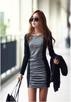 NEW2013!! Dresses women temperament long sleeve corrugation skirt render new dress S/M/L/XL B30 NZ008