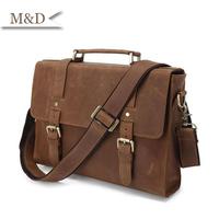 M&D New Arrival Vintage Briefcase Genuine Leather Men Business Portfolio Messenger Bags