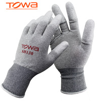 (12 pairs / lot) Towa anti-static luvas anti-static gloves PU coating knitted gloves applicable for electronics industry