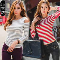 Autumn and winter top basic shirt slim sexy strapless black and white stripe long-sleeve female short design t-shirt tight