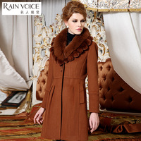 Woolen outerwear fox rex rabbit hair long design woolen overcoat 12765