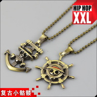 Vintage antique brass skull rudder anchor fashion small hiphop necklace pendant hip hop chain