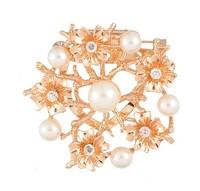 Korean New listing crystal pearl wreath brooch corsage female silk scarf buckle brooch pins Wholesale LY-Y068