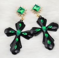 Fashion rhinestone earrings Black oil-drip cross stud earrings for women free shipping jewelry wholesale LY-E387