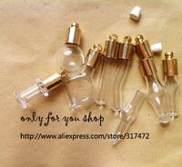 Glass pendant w/gold cap fillable rice vial bottle charm