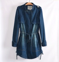 Free shipping! Winter 2013 new European and American style zipper women loose cotton denim coat windbreaker