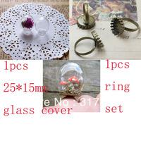 Fashion 10sets/lot  25mmx15mm(opening) Glass bulb vial & ring setting set glass bottle glass vials pendant DIY