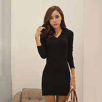 2014 New 2014 summer elegant V-neck basic women's one-piece dress long-sleeve knitted slim hip skirt