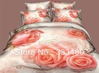 Free shipping ! beige with flower reactive printed 4pcs 100%cotton 3d bedding sets
