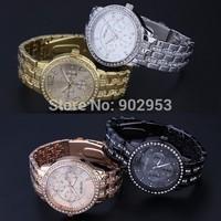 100pcs/lot,Geneva Analog Full Steel geneva Casual Ladies men women quartz watches DHL free shipping