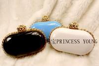 1 piece free shippinig woman Fashion handbag japanned leather PU Clutch metal chains evening bag
