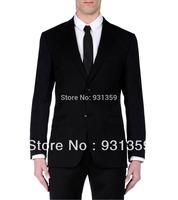 Suit Cool 100% Wool Black 2 Buttons High Quality Man Suits(Coat+Pants+Vest+Tie+Shirt)ZB159 men business suit