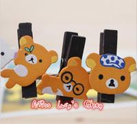 Free ship 1lot=12set/Korean stationery kawaii cute Rilakkuma memo clip wooden clip creative clip