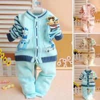 Child cartoon sweater set baby sweater wool pants twinset spring and autumn shirt yarn