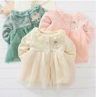 2014 spring  children outerwear jacket and coat baby girl princess  lace top coat