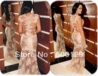 Glamorous Lace Applique Mermaid Crew Cap Sleeve Celebrity Gowns Long Special Occasion Sexy Sheer Evening Dresses 2014
